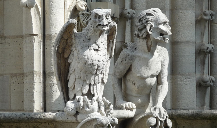 Gargoyles on the roof of Notre Dame in Paris