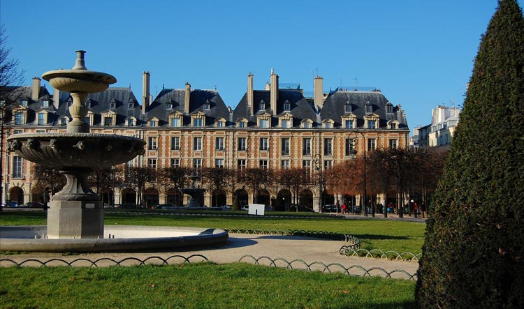 View of the Place des Vosges in the Marais