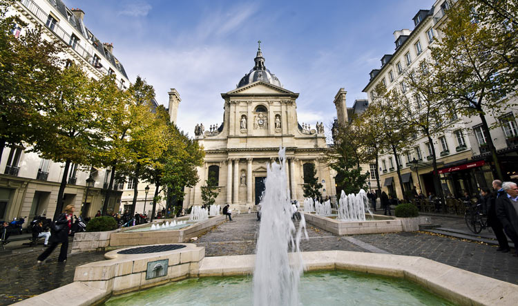 Fountains on the Sorbonne Square in the Latin Quarter
