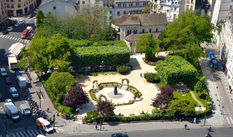 Sky view of the Square Viviani and the oldest tree in Paris