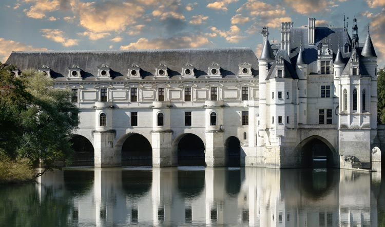 Chenonceau Castle on the river in the Loire Valley