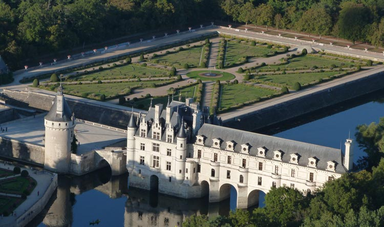 Sky view of Chenonceau Castle