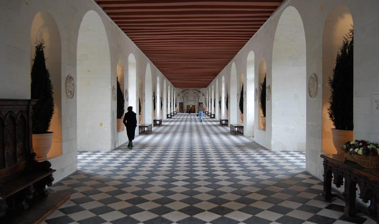 Very long ballroom inside Chenonceau Castle