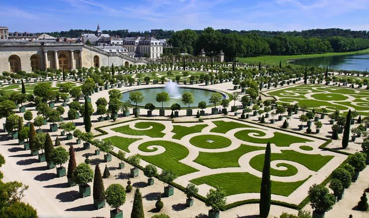 View of Versailles Gardens on a beautiful sunny day