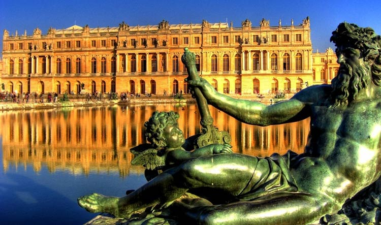 View of Versailles Castle on a beautiful sunny day